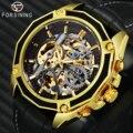 Мужские автоматические часы FORSINING  автоматические механические часы с 3D каркасом и золотым циферблатом