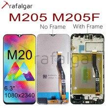 Do SAMSUNG GALAXY M20 wyświetlacz LCD M205 M205F/DS M205FN/DS M205G ekran dotykowy Digitizer zgromadzenie do SAMSUNG M20 LCD z ramą