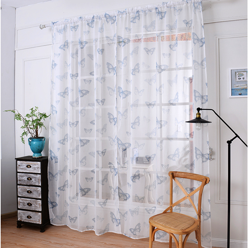 2019 Soft Fabric Sheer Tulle Curtains For Bedroom Butterfly Lavender Window Curtains For Living Room Kitchen Curtains Tulles 1pc