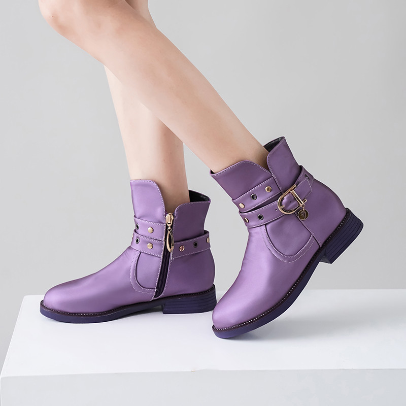 2019 Fashion Winter Chunky Heels Buckle Strap Rivet Ankle Boots Red Pink Black Purple Female Shoes Large Size Bootie