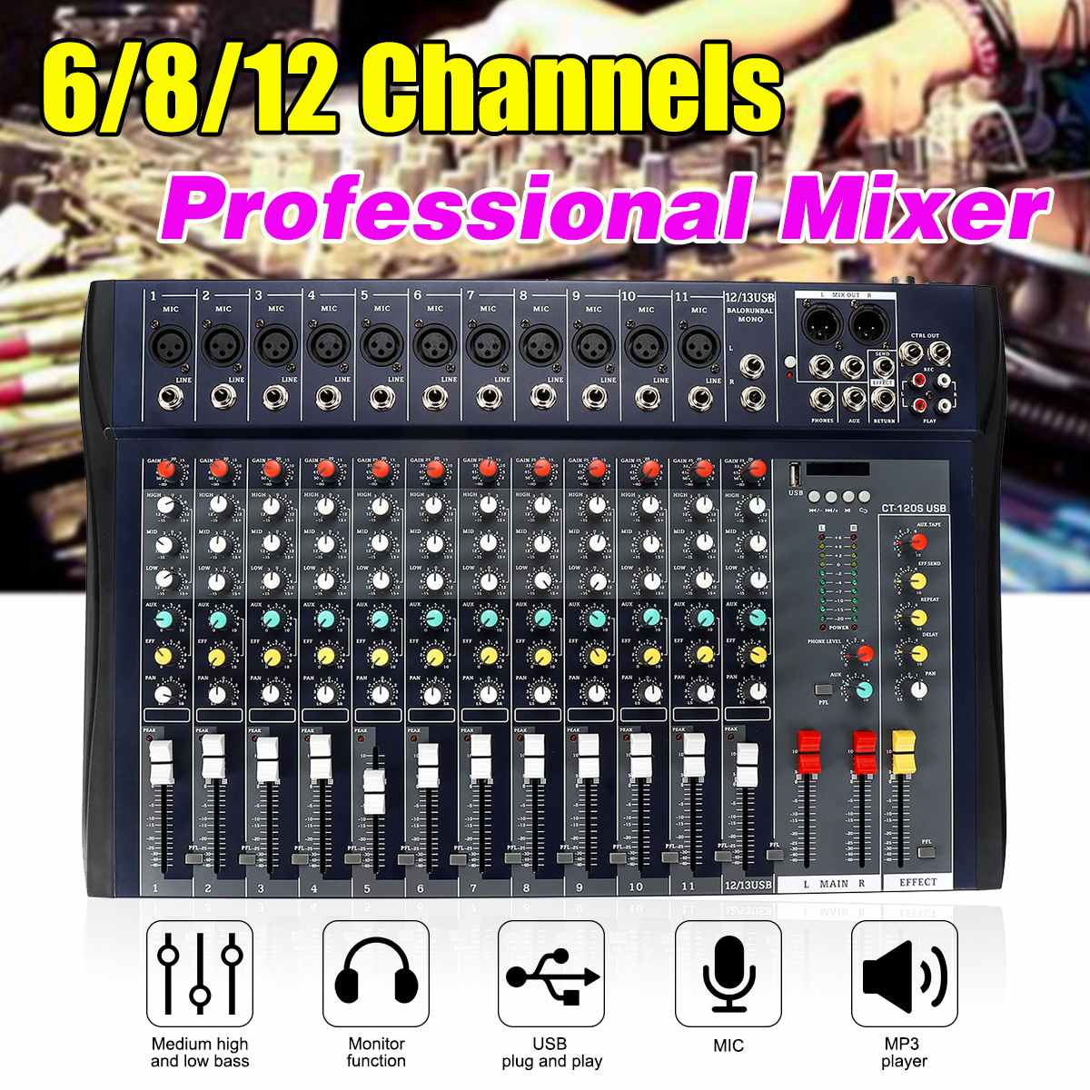 Console de mixage audio professionnelle dj Studio 6/8/12 canaux 8 mono 4 mélangeur stéréo interface audio audio USB bluebooth