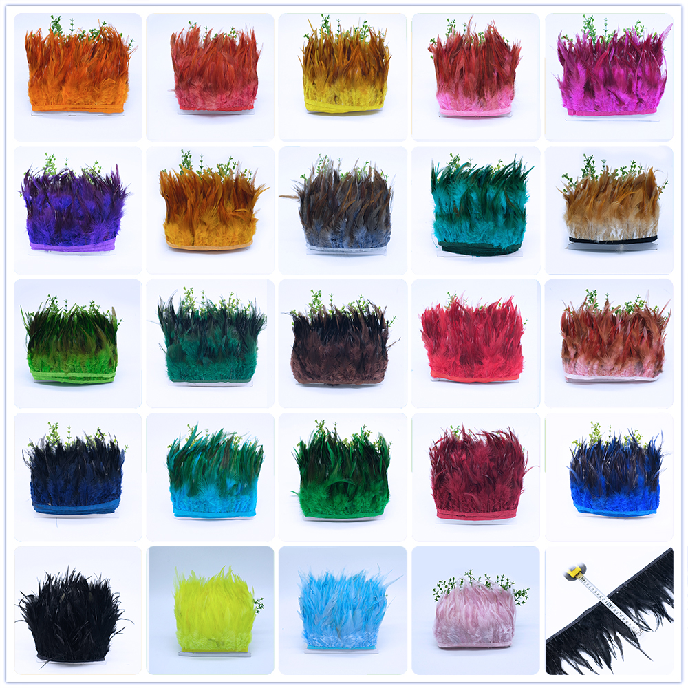 Перо петуха 10 м, отделка с бахромой, 10-15 см, 49 цветов