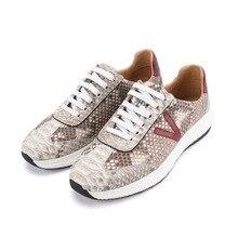 Otantik gerçek Python cilt yumuşak kauçuk taban Unisex gündelik ayakkabı egzotik hakiki yılan deri kadın erkek dantel up Flats ayakkabı