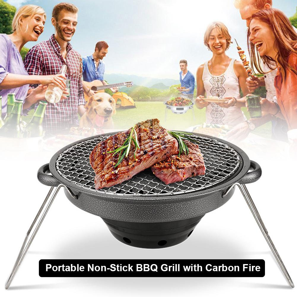 Grill Plaque portable gaz stove BBQ Non-Stick Barbecue Camping 32 cm