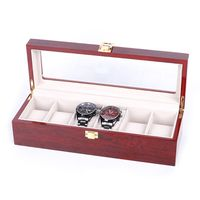 6 Grids Wooden Watch Display Case Storage Box Winder Jewelry Collection