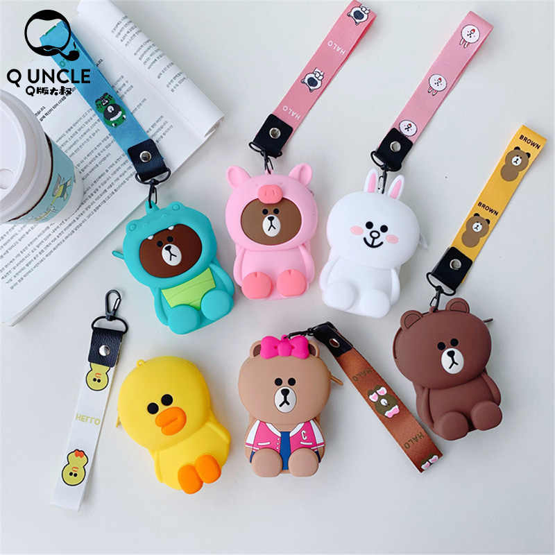 Q UNCLE Hot Sale Kawaii Cartoon Children Plush Coin Purses Wallet Kids Girl Women for Gift Lady Candy Color Key Bag Headset Bag