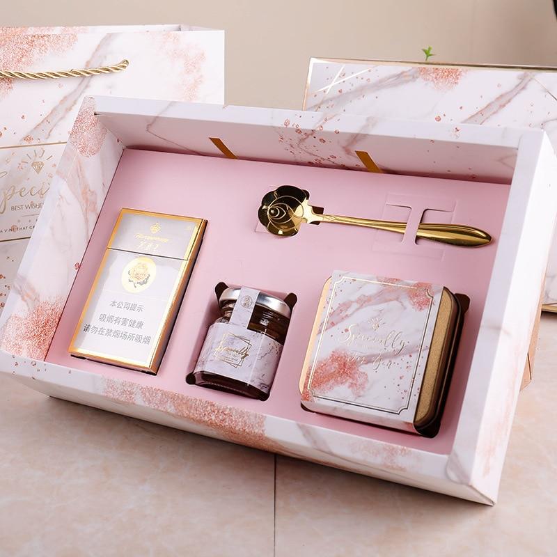 Décorations de mariage sacs-cadeaux avec poignées en marbre faveurs de mariage sac en papier coffret cadeau coffret commission boîtes d'expédition boîte d'emballage - 4