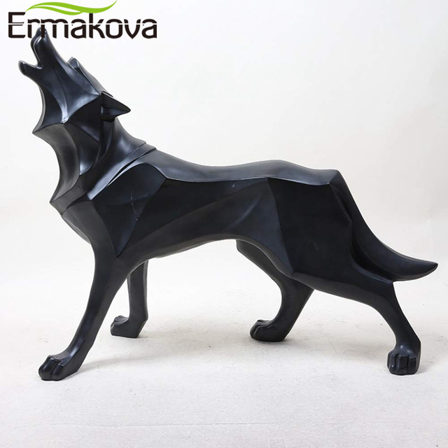 ERMAKOVA Wolf Statue Modern Abstract Geometric Style Resin Wolf Animal Figurine Office Home Decoration Accessories Gift 1