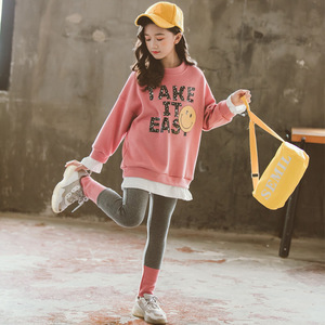 Image 5 - Girls Fall Outfits Fashion Children Clothes Set 2020 Spring Cotton Pullover Sweatshirts + Leggings 3 Colors Clothes for Girls