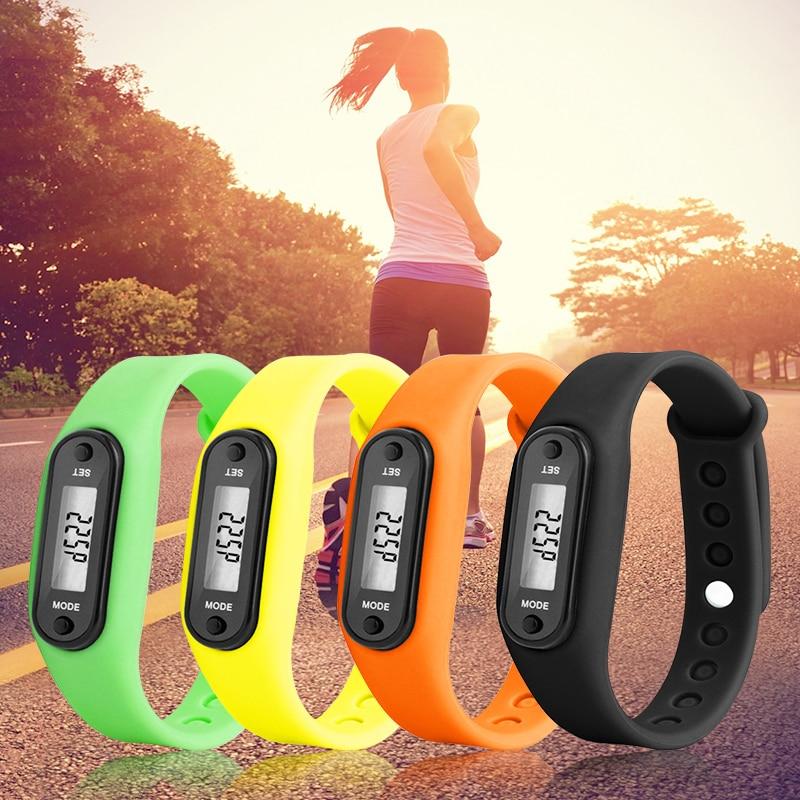 Bransoletki z żelem krzemionkowym Run zegarek z krokomierzem bransoletki krokomierz liczący kalorie cyfrowy LCD Walking Distance Wrap mankiet Drop Ship