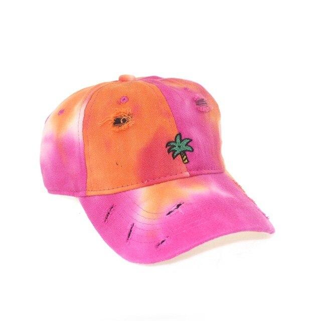 Фото хлопковая кепка с вышивкой и принтом tie dye женские бейсболки цена