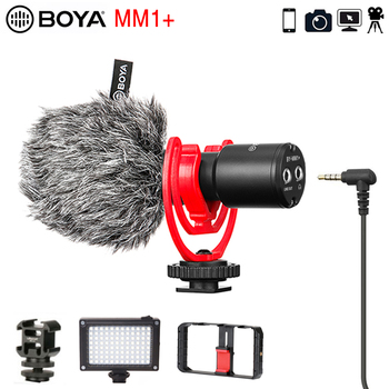BOYA MM1+ Vlog Video Record Microphone Wireless Super-Cardioid Condenser for iphone Android DSLR Smartphone Osmo Pocket Youtube boya anti shock mount for by mm1 microphone