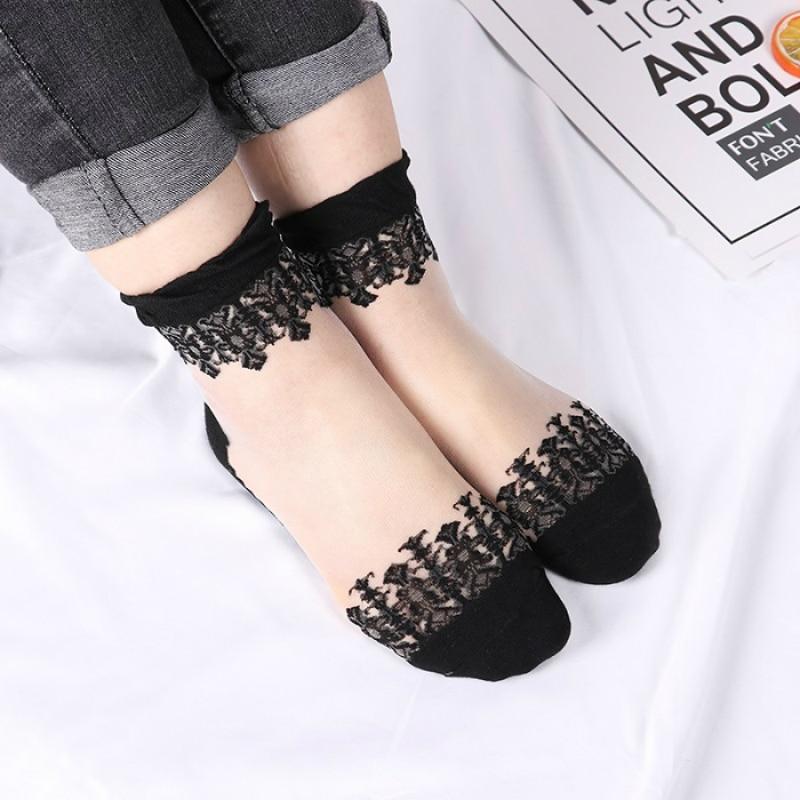 Women Soft Fishnet Mesh Lace Ruffle Socks Sheer Glitter Short Ankle Stockings