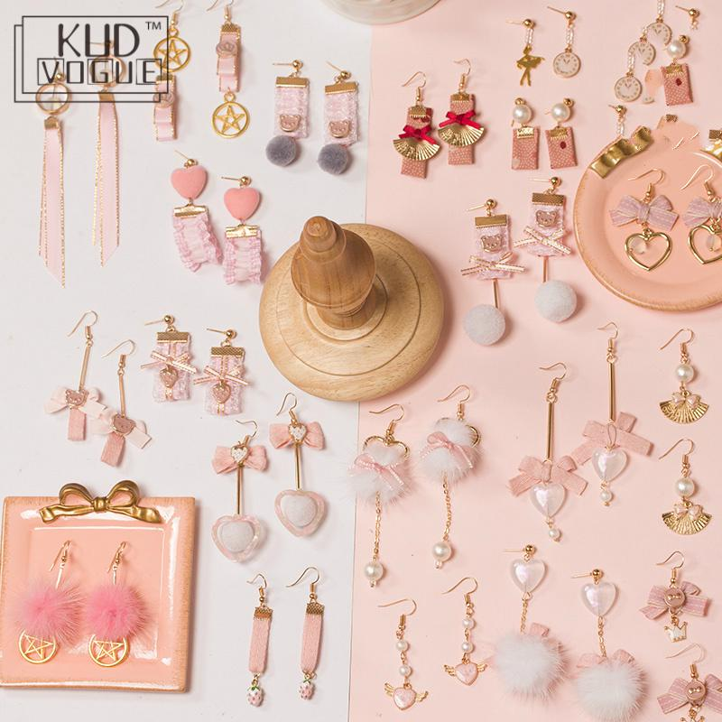 Handmade Earrings Hair-Ball Jewelry Hearts Japanese Lolita Princess Winter Kawaii Girl