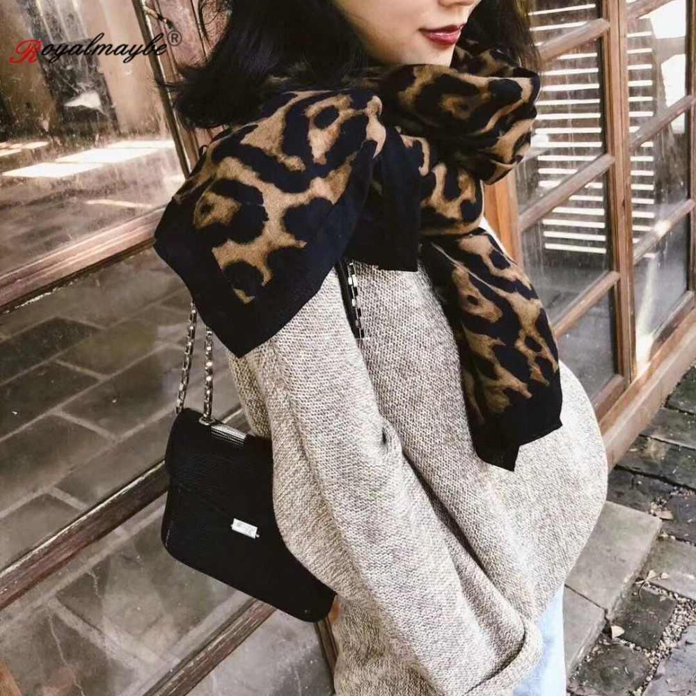 Sciarpa delle donne di inverno del cotone animali stampa a righe leopardo sciarpe 2018 laies scialle nero di modo Allunga di alta qualità anello bianco