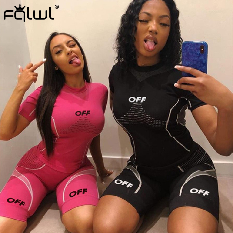 FQLWL Two Piece Set Women Suits Ladies Pink Summer Outfits Fitness Crop Top Biker Shorts Set Women Tracksuit Female Matching Set