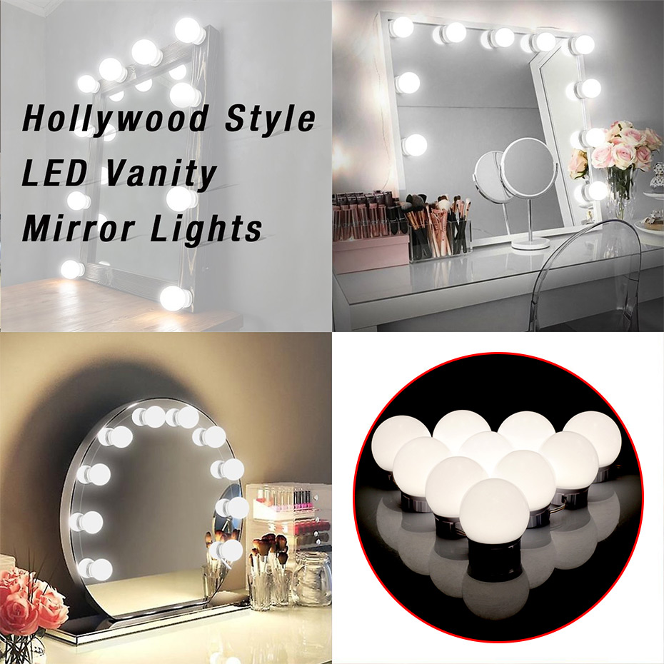 5V Hollywood Lighted Makeup Vanity Mirror Dimmable Light Bulbs USB Charging Lighting Fixture Strip For Makeup Vanity Table Set