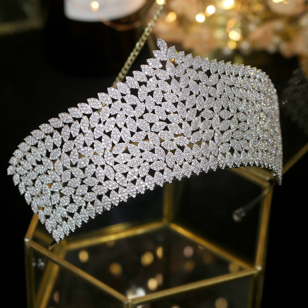 Luxury Big Princess Crown Wedding Crowns Micro-inlay Tiara Bride Silver Diadem Zirconia Bridal Hair Accessories Hair Jewelry