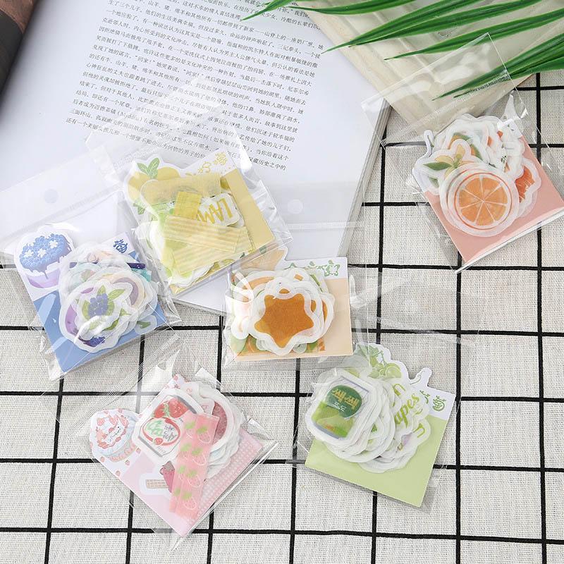 50PCS Cute Banana Strawberry Paper Stickers Kawaii Fruit Lemon Decor Stationery Stickers For Kids Scrapbooking Diary Supplies