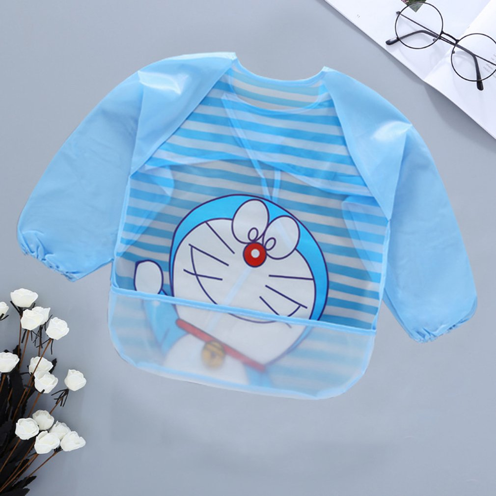 Fashion Boys Girls Baby Dress Cartoon Waterproof Bib Dress Long Sleeve Shirt Casual Kids Clothing For Painting