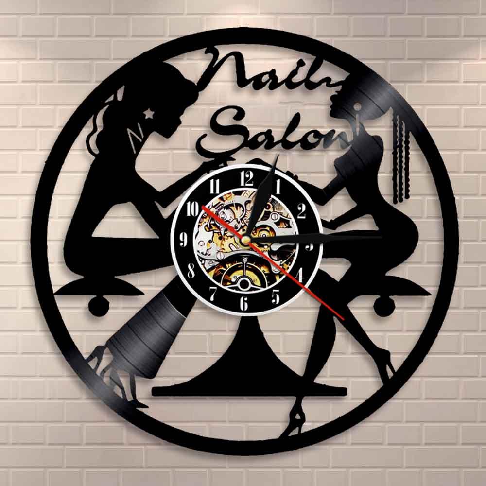Nail Salon Wall Art Wall Clock Home Decor Polish Manicure Pedicure Business Vinyl Record Wall Clock Beauty Salon Gift For Her
