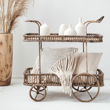 Wózek do transportu kuchni ręcznie rattan dwuwarstwowe przechowywanie wielofunkcyjne wózek do transportu z kółkami tanie i dobre opinie