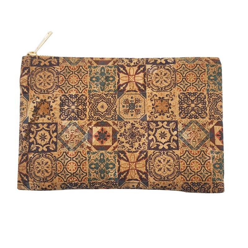Cork Clutch Bag Natural Wooden Zipper Pouch Oak Portugal Tile Pattern Envelope Purse Butterfly Handbags Women Cosmetic Bags W808
