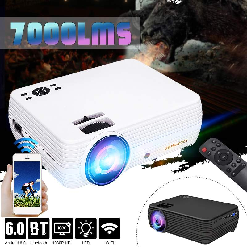 7000 Lumens Projector Android 6.0.1 Wifi Wireless Display Home Theater Proyector Support Full HD 1080P 4K Video With HDMI image