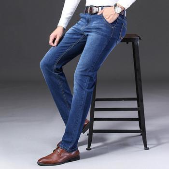 Casual business klasyczne dżinsy męskie proste dżinsy moda elastyczność dżinsy luźne w stylu casual dżinsy męskie dżinsy tanie i dobre opinie TJWLKJ CN (pochodzenie) Zipper fly Kieszenie Stałe Tencel F19091008 Medium REGULAR Na co dzień JEANS Midweight Pełnej długości