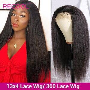 Кудрявый прямой парик Recool, парики из человеческих волос на сетке спереди, бразильский парик на сетке спереди, 360 натуральный парик на сетке с...