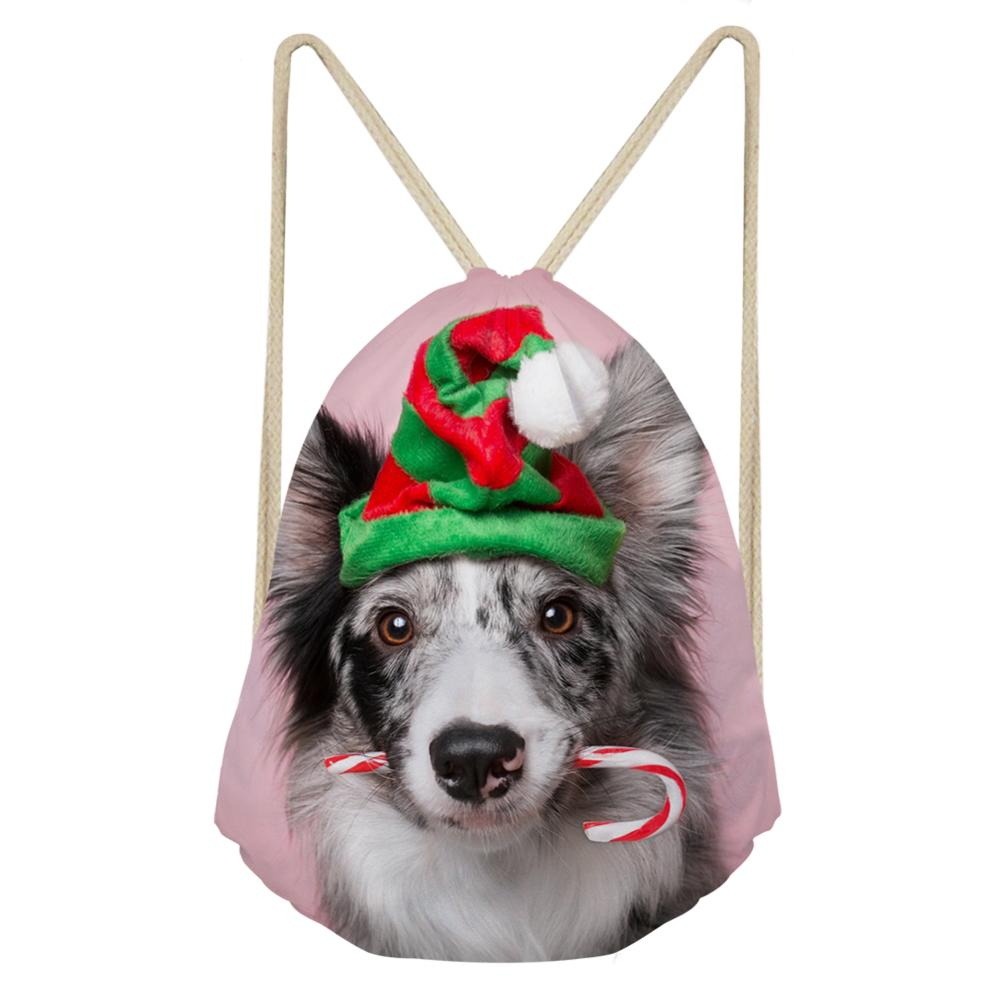 Christmas Bags For Gifts With Drawstrings Backpack Drawstring Bag Dog Printing Mini Shoulder Bagpack Beach Draw String Pouch