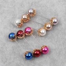 BTWGL Double Pearl Brooch Snowflake Bow Decoration Accessories Enamel Needle Silk Scarf Buckle Pure Copper Fittings