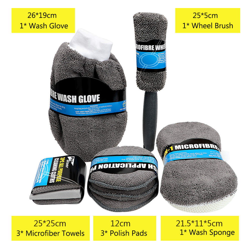 9Pcs Microfiber Car Wash Cleaning Kit Include 3* Microfiber Towels, 3* Applicator Pads, Wash Sponge, Wash Glove, Wheel Brush 2