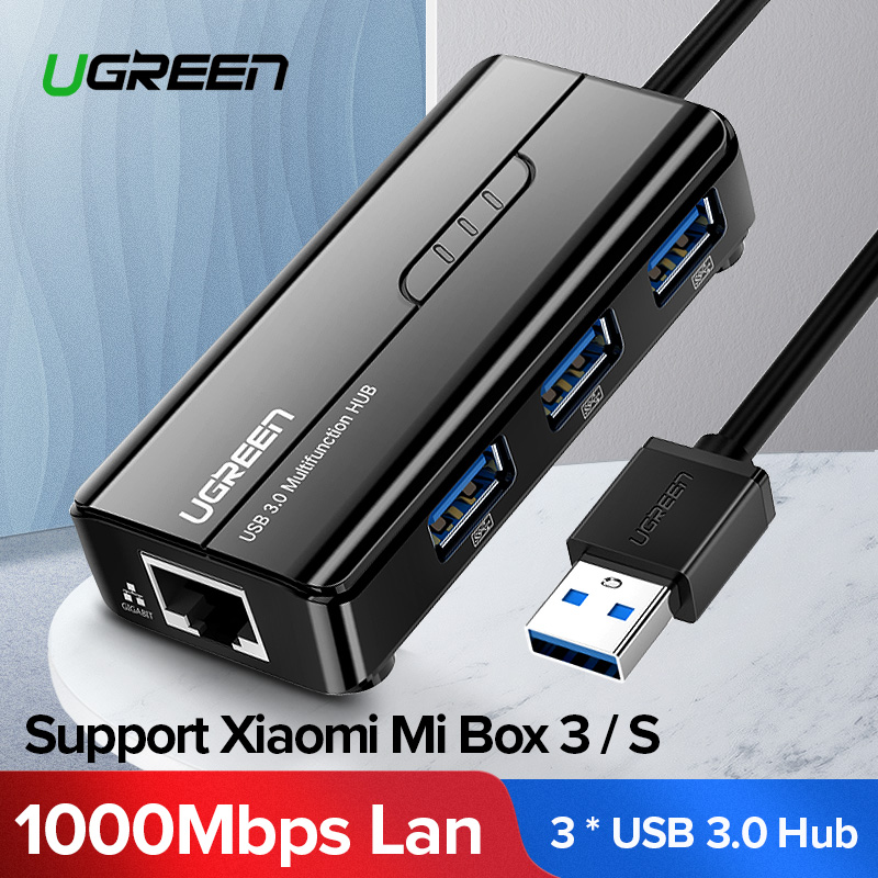 Ugreen USB Ethernet 10/100/1000 Mbps Rj45 Gigabit Network Card Lan Adapter + 3 Port USB 3.0 Hub for Mac OS Tablet pc Laptop  iphone 6 plus kılıf
