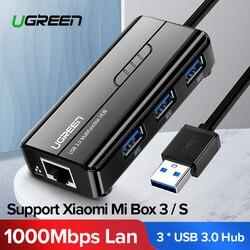 Ugreen USB إيثرنت USB 3.0 2.0 إلى RJ45 HUB ل Xiao mi mi صندوق 3/S فك التشفير إيثرنت محول بطاقة الشبكة USB Lan
