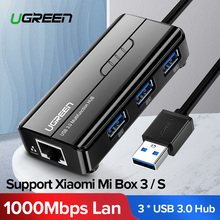 Ugreen USB Ethernet 10/100/1000 Mbps Rj45 Gigabit Network Card Lan Adapter + 3 Port 3.0 Hub for Mac OS Tablet pc Laptop