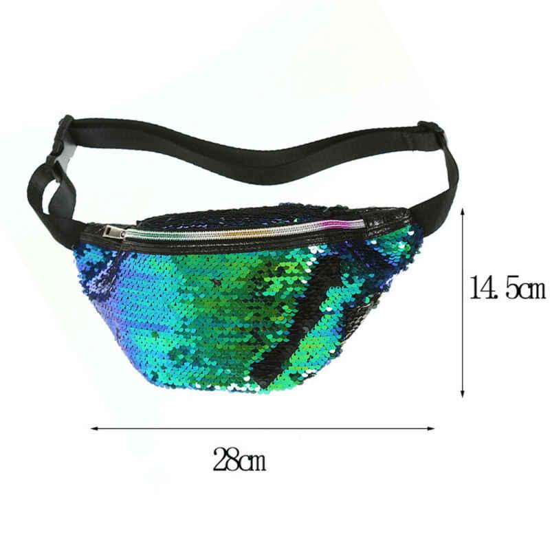 Wanita Reversible Mermaid Sequins Glitter Pinggang Tas Tas Kantong Tas