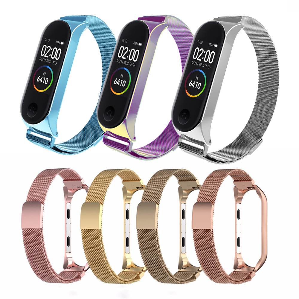 Stainless Steel Wrist Strap For Xiaomi Mi Band 4 3 Metal Watch Band Smart Bracelet Miband 4 Belt Replaceable Watch Straps Mi 3