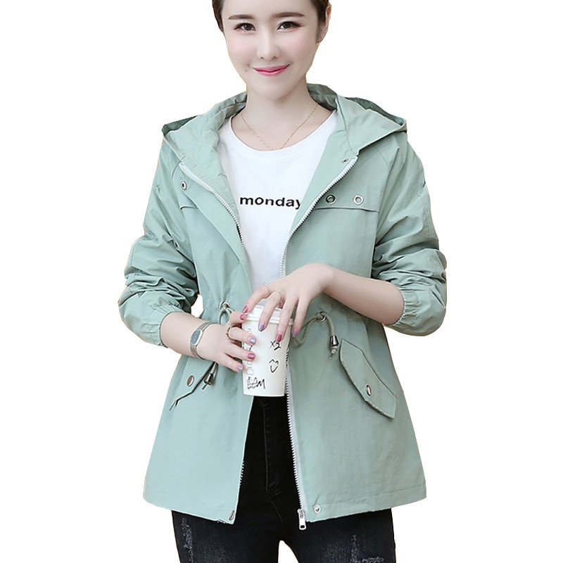 2020 New Women Jackets Spring Autumn Hooded Coats Long Sleeve Female Windbreaker Pocket Zipper Jacket Outwears Plus Size P661