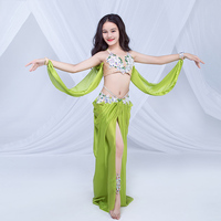 New Children Rhinestone Beads Belly Dance Costumes Kids Dance Show Clothing Bra+Long Skirt Girls Dancing Performance Set DWY3081