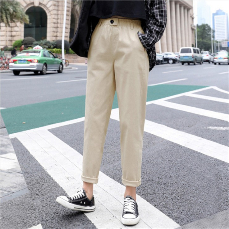 2019 Fashion Women Loose Mom Jeans Long Trousers Pockets Zipper Loose Streetwear Female Pants Spring And Autumn New Style