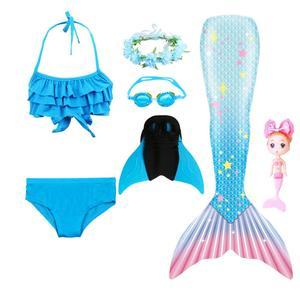 Image 5 - 2020ใหม่เด็กMermaid Tail Swimmableชุดว่ายน้ำบิกินี่ชุดว่ายน้ำนางเงือกชุดMermaidตุ๊กตาMermaidวิกผมGarland