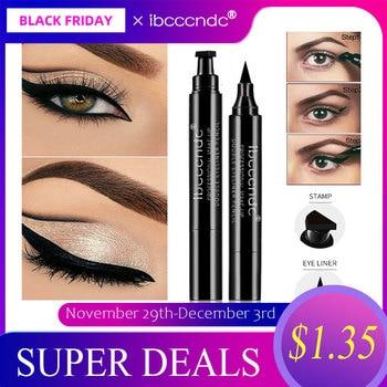 IBCCCNDC marque maquillage noir Eye Liner crayon liquide séchage rapide imperméable noir Double-end maquillage timbres aile Eyeliner crayon