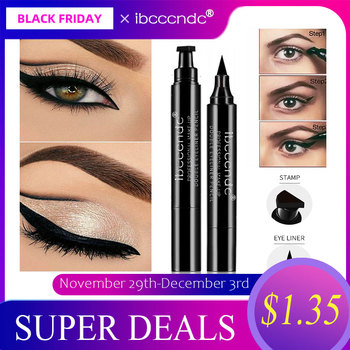 IBCCCNDC Brand Makeup Black Eye Liner Liquid Pencil Quick Dry Waterproof Black Double-ended Makeup Stamps Wing Eyeliner Pencil
