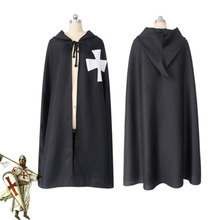 DM Cos Role Playing Templar Knight Cape Cloak Costume Robe Saint Cloth Hospital Recreate Halloween Black White Red