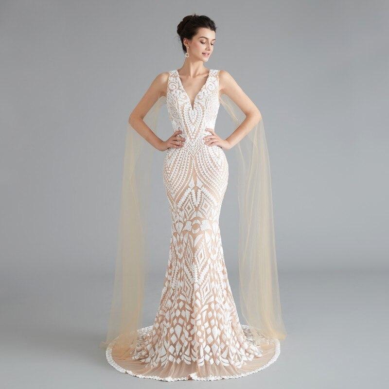 Nouvelles robes de soirée musulmanes longue mère de la robe de mariée sirène dentelle Sequin robe de soirée vraie Photo robes de fête de bal perlée