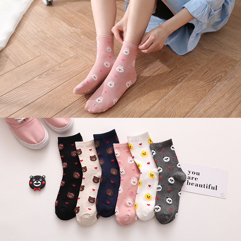 Ladies' Long Socks Cartoon Cute Bear Bunny Bird Print Pattern Harajuku Funny Happy Autumn Winter Cotton Socks New Style