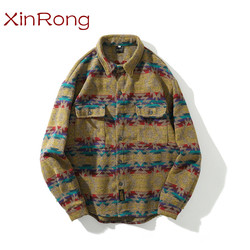 Contrasting color all-match snap button long-sleeved shirt men's fashion hip-hop casual retro ethnic coat male fashionable shirt