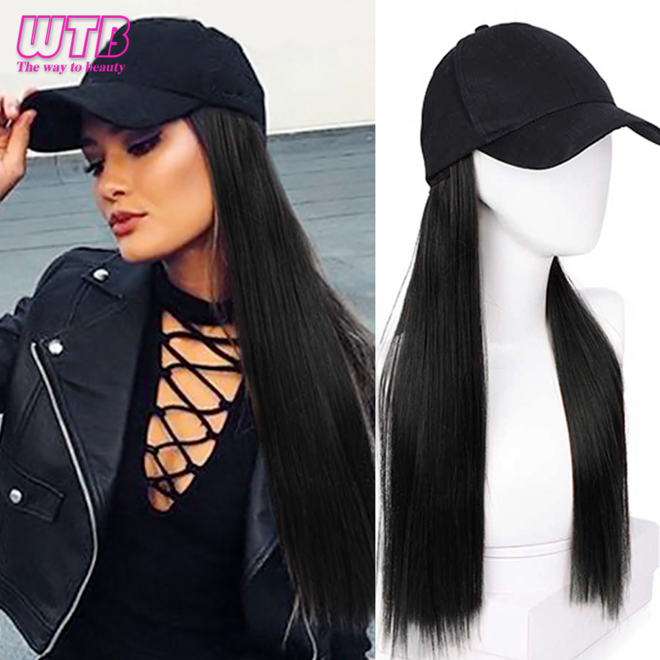 WTB Girls Long Straight Synthetic Baseball Cap Wigs Hair Extensions Naturally Connect One Pieces Hat Wig Adjustable Sizes