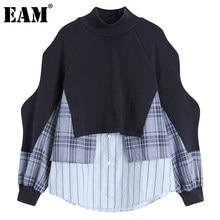 [EAM] Lose Unregelmäßigen Gespleißt Gestreiften Sweatshirt Neue Rollkragen Langarm Frauen Große Größe Mode Frühjahr Herbst 2021 1DD2776